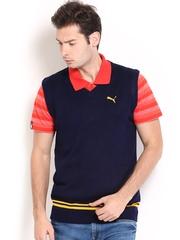 PUMA Men Navy Sleeveless Sweater