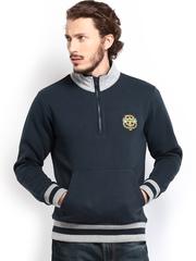 HRX Men Navy Solid Badged Sweatshirt