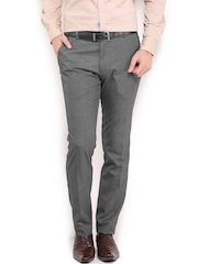 Black Coffee Men Grey Sharp Slim Fit Formal Trousers