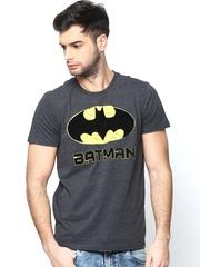Batman by Free Authority Men Charcoal Grey Melange Printed T-shirt