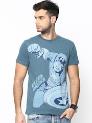 Marvel by Free Authority Men Blue Printed T-shirt