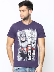 Marvel by Free Authority Men Purple Printed T-shirt