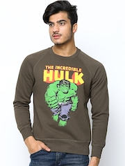Hulk Men Olive Green Printed Sweatshirt
