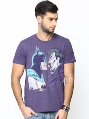 Batman by Free Authority Men Purple Printed T-shirt