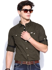 Roadster Men Olive Green Jewel Twill Shelby Slim Fit Casual Shirt