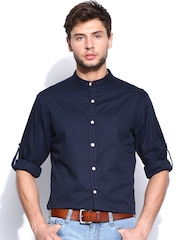 Roadster Men Navy Romain Shelby Slim Fit Casual Shirt