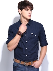 Roadster Men Navy Sutil Solid Shelby Slim Fit Casual Shirt