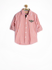 Gini and Jony Boys Orange & White Checked Shirt