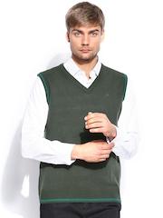 Arrow Sport Men Olive Green Sleeveless Sweater