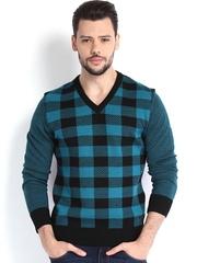 Arrow New York Men Blue & Black Woollen Sweater