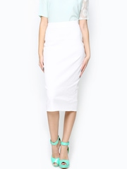 Femella Women White Pencil Skirt