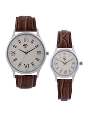 Sandy Deniel by Swiss Design His & Her Set of 2 Off-White Dial Watches SD 301 WH01