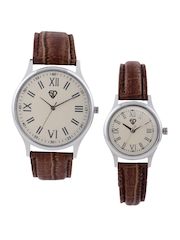 Sandy Deniel by Swiss Design His & Her Set of 2 Cream-Coloured Dial Watches SD 301 SL01