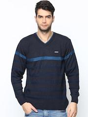 Duke Stardust Men Navy Striped Wool Blend Sweater