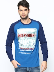 Duke Men Blue Printed T-shirt
