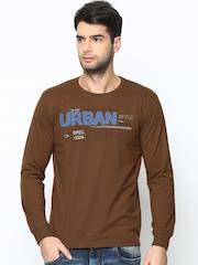 Duke Men Brown Printed T-shirt