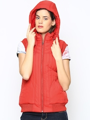 Fort Collins Women Red Sleeveless Jacket with Detachable Hood