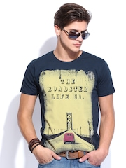 Roadster Men Navy Printed T-Shirt