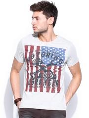 Roadster Men Grey Melange Printed T-shirt