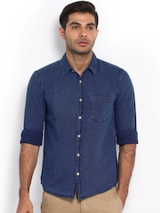 Slub Men Blue Slim Fit Denim Casual Shirt