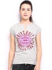 Fila Women Grey Melange Printed T-shirt