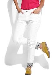 Kook N Keech Women White & Grey Printed Skinny Fit Trousers