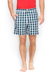 Undercolors of Benetton Men Green & White Checked Boxers 13A4STK0343DI
