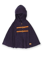 U.S. Polo Assn. Kids Girls Purple Acro Wool Poncho Sweater