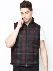 John Players Men Black & Maroon Printed Sleeveless Jacket
