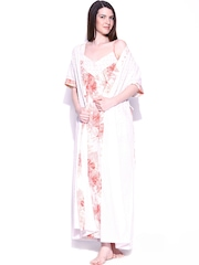 Naughty Peach-Coloured & White Printed Maxi Nightdress with Robe 10170