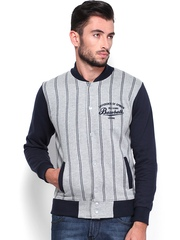Difference of Opinion Men Grey Melange & Navy Striped Sweatshirt