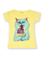 Inmark Girls Yellow Printed T-shirt