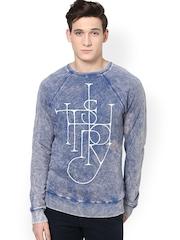 Atorse Men Blue Printed Sweatshirt