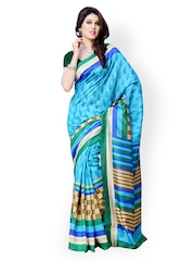 Diva Fashion Blue & Green Printed Art Silk Fashion Saree