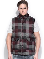 Wills Lifestyle Men Maroon & Grey Checked Padded Jacket