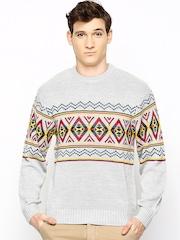 Wills Lifestyle Men Grey Wool Blend Sweater