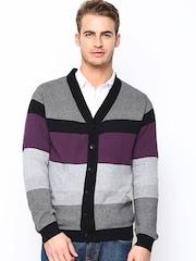 Wills Lifestyle Men Grey Striped Cardigan