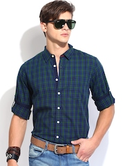 Roadster Men Navy & Black Checked Slim Fit Casual Shirt