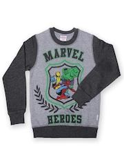 Marvel by Kids Ville Boys Grey Melange Printed Sweatshirt