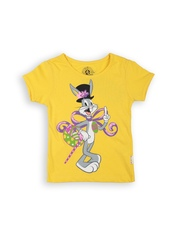 Looney Tunes by Kids Ville Girls Yellow Printed T-shirt