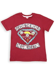 Superman by Kidsville Boys Red Printed T-shirt