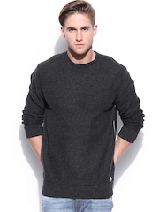 Quiksilver Men Charcoal Grey Woollen Sweater