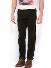 EFFC Men Coffee Brown Slim Fit Corduroy Trousers