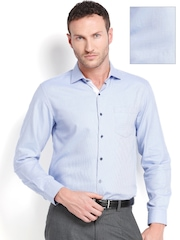 Black Coffee Men Blue & White Formal Shirt