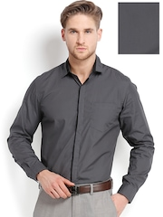 Mark Taylor Men Dark Grey Slim Fit Semiformal Shirt