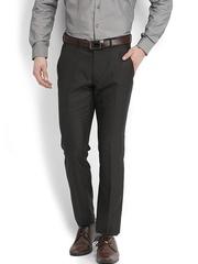 Black Coffee Men Black Sharp Fit Formal Trousers