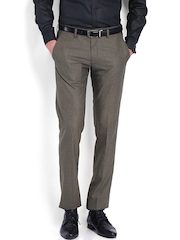 Black Coffee Men Brown Sharp Fit Formal Trousers