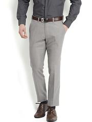 Black Coffee Men Light Grey Sharp Fit Formal Trousers