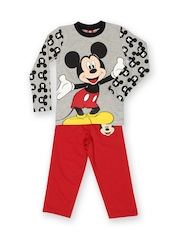 Disney Mickey Mouse Boys Grey & Red Printed Clothing Set