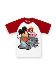 Disney Mickey Mouse Boys Yellow & Red Printed T-shirt